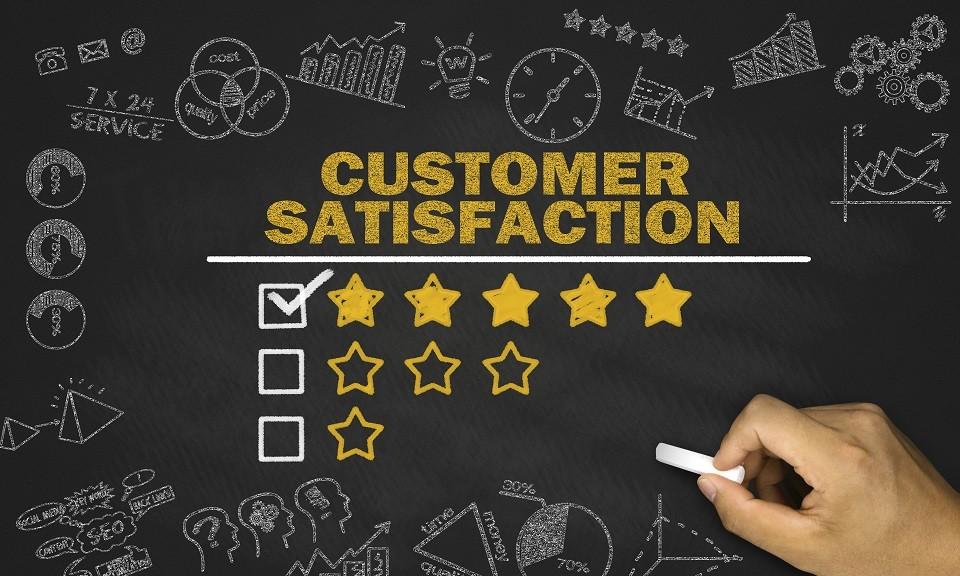 customer satisfaction concept on blackboard