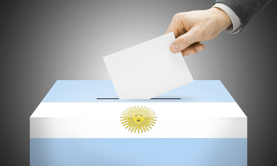 Voting concept - Ballot box painted into national flag colors - Argentina
