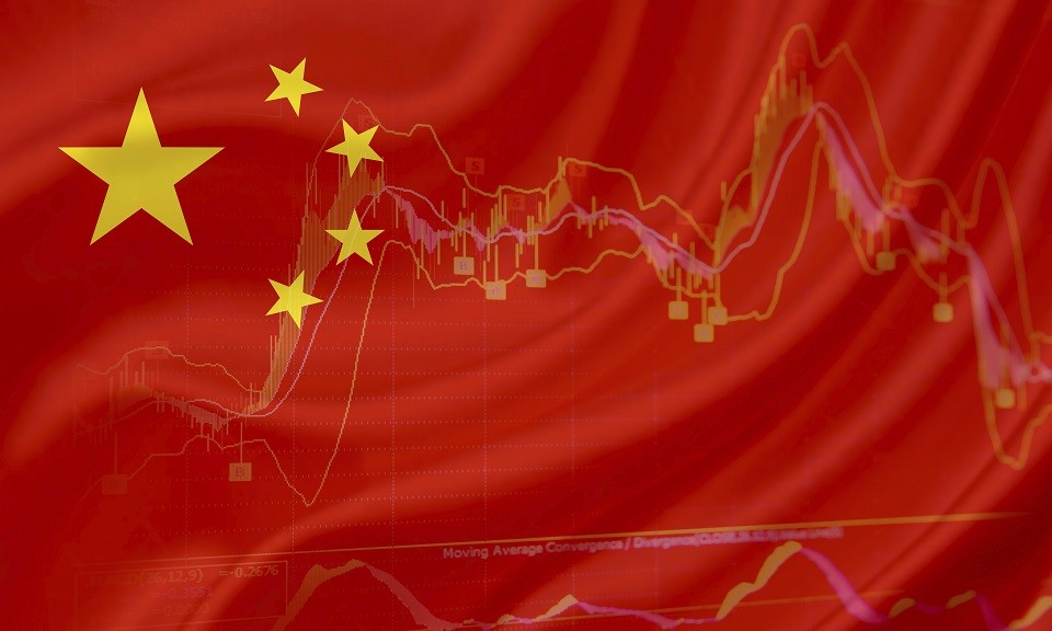 Flag of China with a chart of financial instruments for stock market analysis.