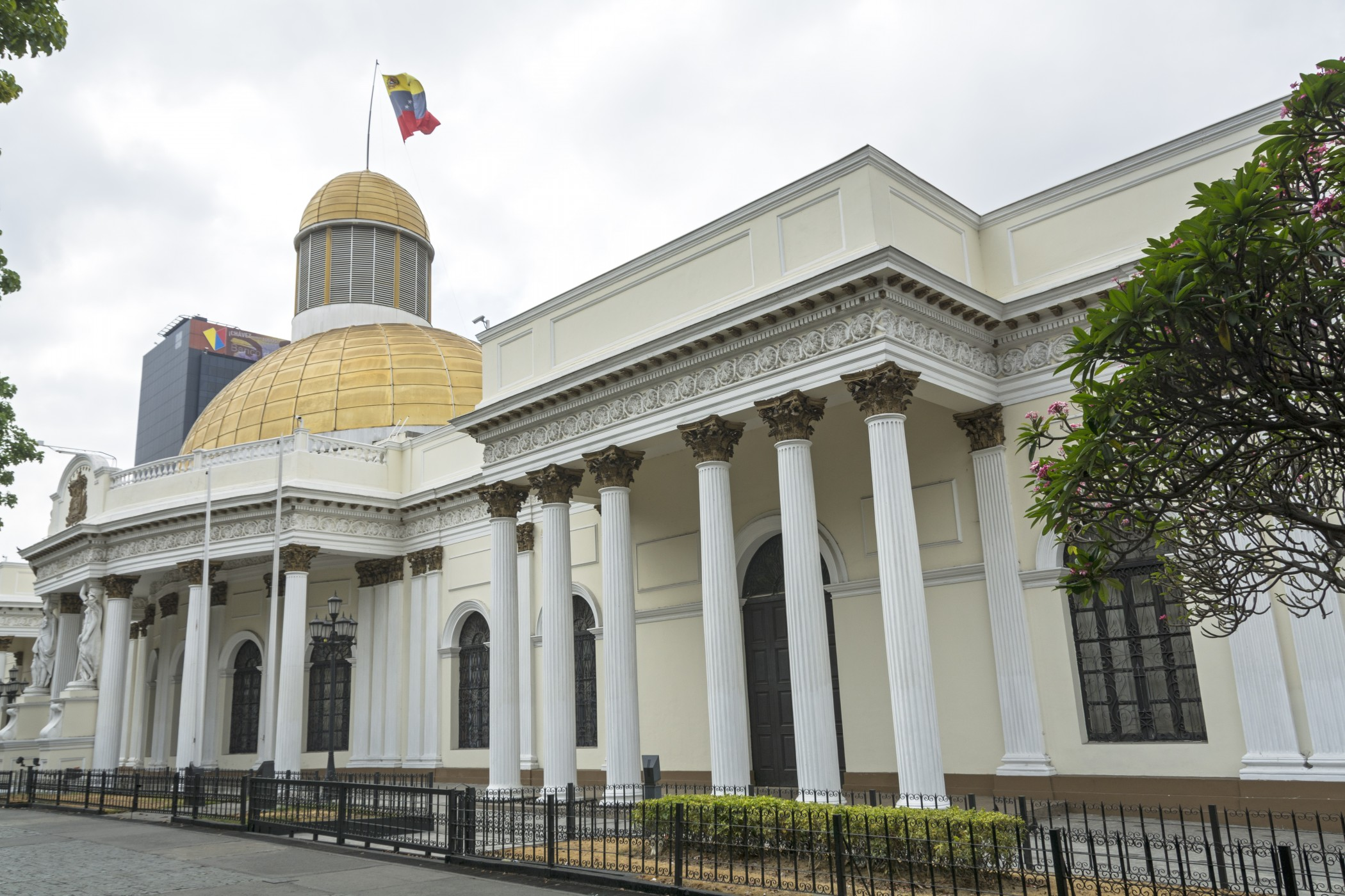 Caracas, Venezuela- March 25, 2016: The Federal Legislative Palace, also known as the Capitol, is a historic building in Caracas, Venezuela, which now houses the National Assembly.