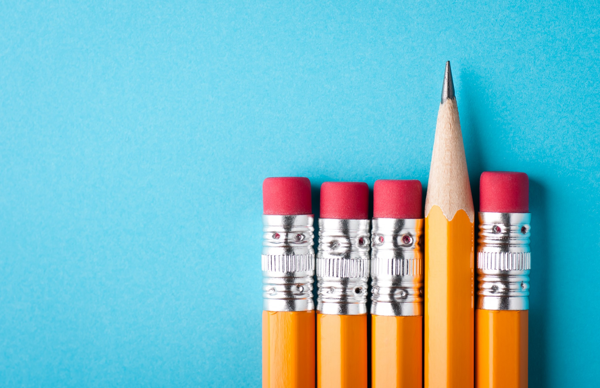 Pencils with blue background