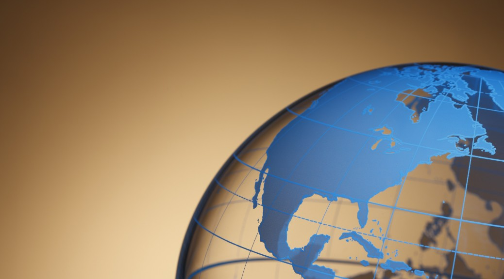 A close up of a colorful globe showing North America.To see more of my globe images click the link below:
