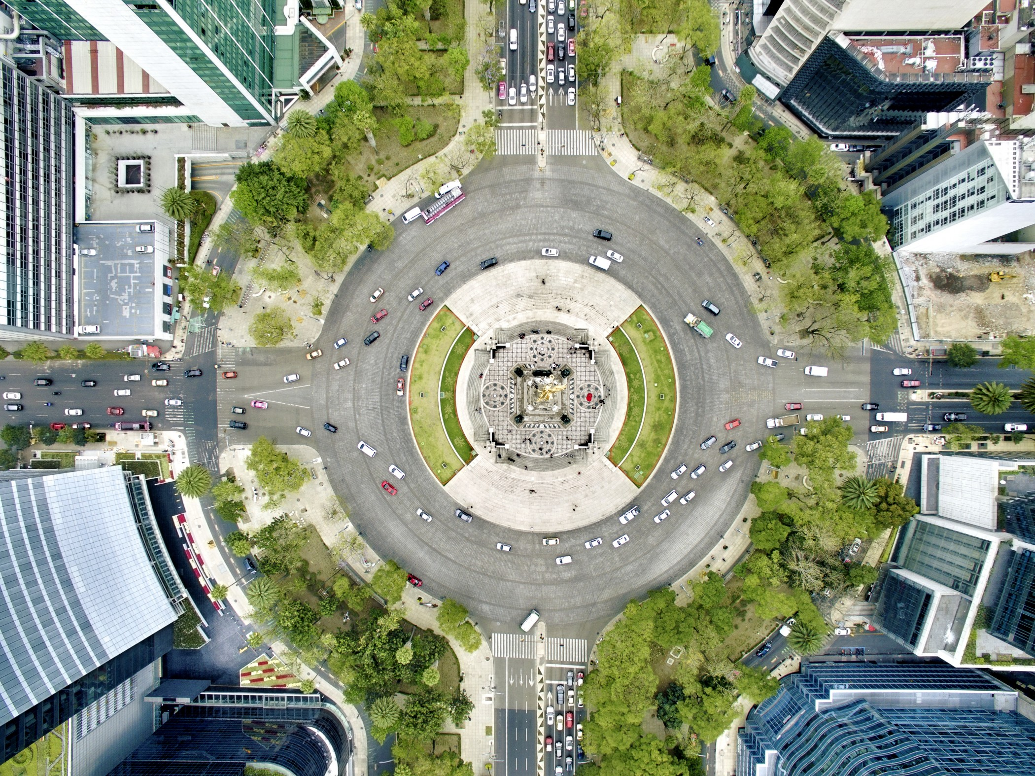 Aerial view of Independence monument in Mexico City