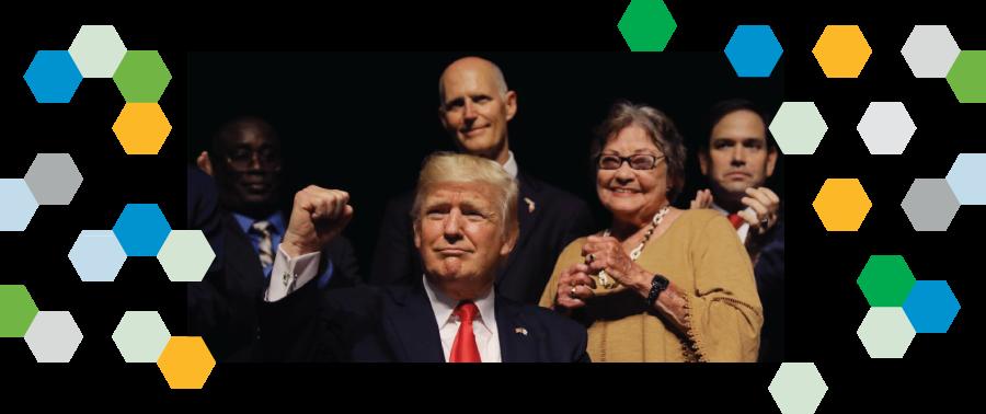 """El Presidente Donald Trump acompañado de Marco Rubio (al fondo a la derecha), Rick Scott y disidentes cubanos"""""""