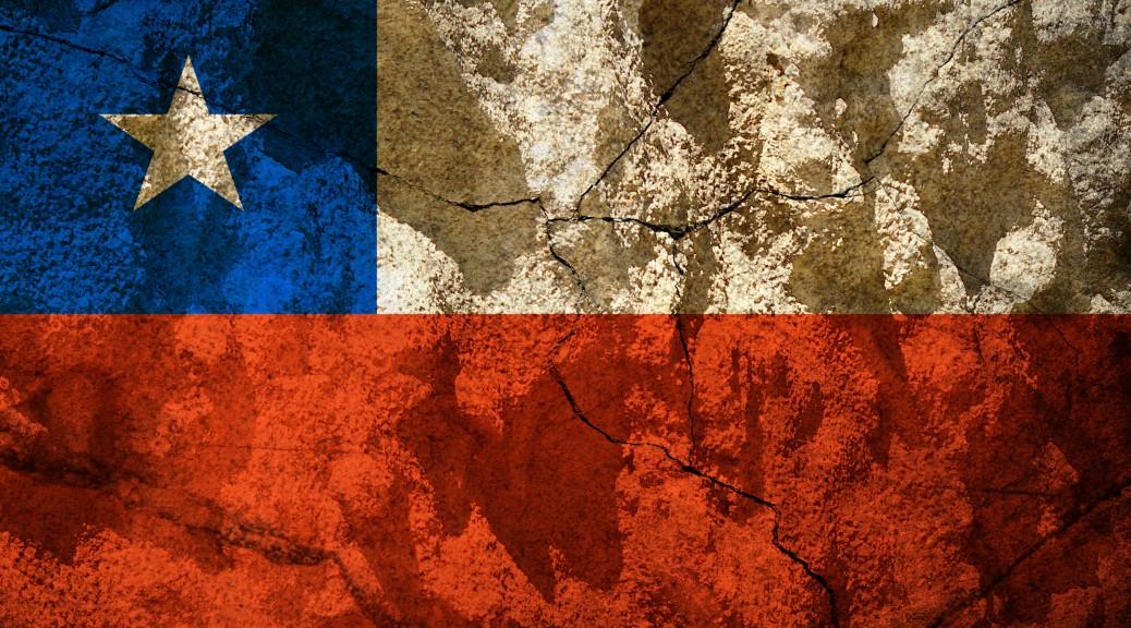 Chile flag on stone
