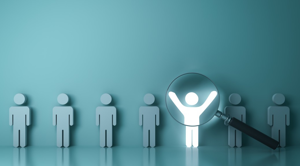 Searching for the right person concept, Stand out from the crowd and different concept , Magnifying glass focusing on the light man standing with arms wide open on green wall background. 3D rendering.